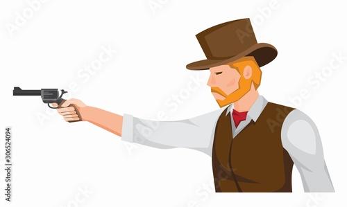 cowboy with gun cartoon illustration vector Tablou Canvas