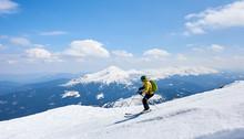 Sportsman Skier In Helmet And ...