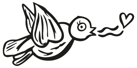 Black and white bird singing about love with a heart. Isolated hand drawing. Vector.