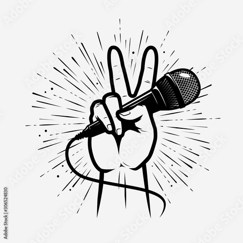 Microphone in hand. Music, song symbol. Vector illustration - 306524830