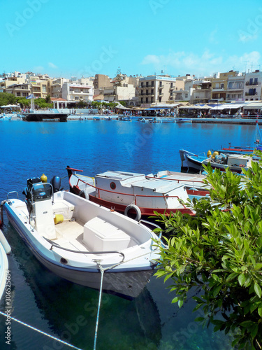 Photo Agios Nikolaos Harbor City on Crete, Greece, Europe
