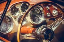 Wooden Steering Wheel Of An Ol...
