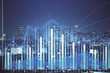 canvas print picture - Financial graph on night city scape with tall buildings background multi exposure. Analysis concept.