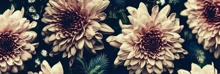 Vintage bouquet of beautiful flowers on black. Floral background. Baroque old fashiones style. Natural pattern wallpaper or greeting card