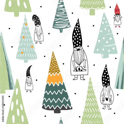 The elegant colorful scandinavian Christmas nordic gnomes and trees seamless pat Obraz na płótnie