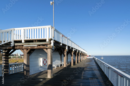 Canvas Print 'Alte Liebe' ('Old Love'), famous observation deck in Cuxhaven, Germany at the r