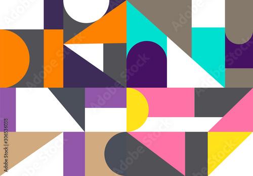 Tela  Retro triangle  graphic posters with geometric bauhaus
