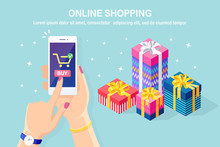 Online Shopping Concept. Buy In Retail Shop By Internet. Discount Christmas Sale. 3d Isometric Gift Box, Bag, Pile Of Package. Mobile Phone, Smartphone With Cart Icon In Hand. Vector Design For Banner
