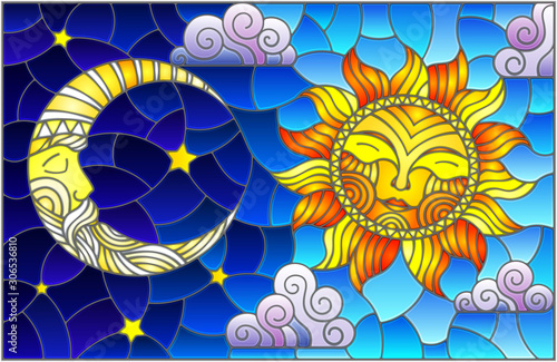 Obraz na plátně Illustration in stained glass style , abstract sun and moon in the sky