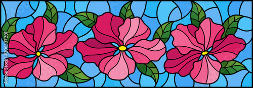 Naklejka kwiaty na szybę  llustration-in-stained-glass-style-with-flowers-leaves-and-buds-of-pink-flowers-on-a-blue