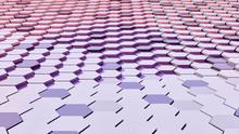 Abstract Hexagonal Wavy Pattern Background; Purple, Red And Orange Honeycomb Floor 3d Rendering, 3d Illustration
