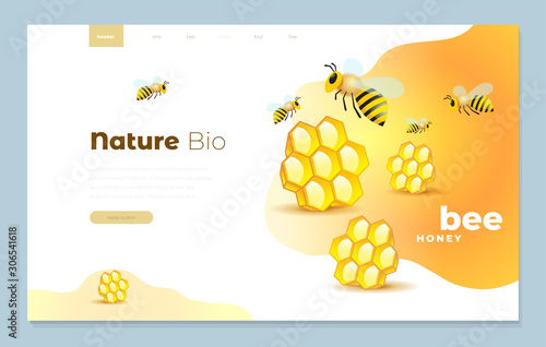 Photo Web page design templates cover for honey mead bee vector illustration concepts