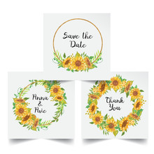 Set Of Floral Wreath Watercolor Sunflower Yellow