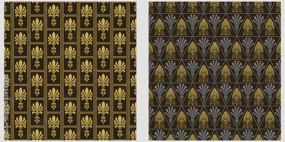 Art Deco Patterns. Two modern background patterns in retro style. Seamless vector backgrounds. Set of patterns. Colors in the image: black, silver, gold. Exquisite graphic design. Vector graphics.