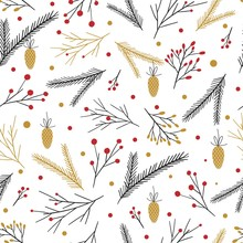 Vector Cute Retro Merry Christmas Seamless Pattern With Season Decor Elements. Hand Drawn Xmas Endless Background With Black And Golden Spruce Branches, Cone, Mistletoe, Red Berries.