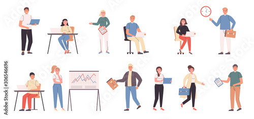 Company staff, businessmen and businesswomen flat vector illustrations set Tableau sur Toile