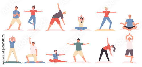 Photographie Yoga poses and exercises flat vector illustrations set