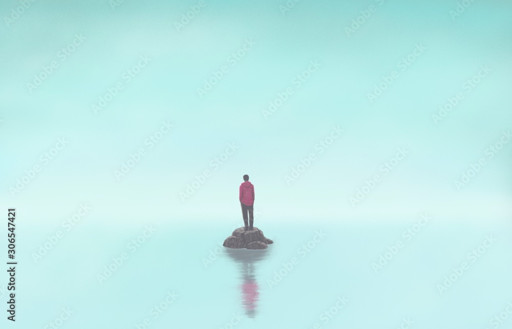 Człowiek samotnie z morzem, samotny, depresja, smutne, surrealistyczne malarstwo, grafika <span>plik: #306547421 | autor: Jorm S</span>