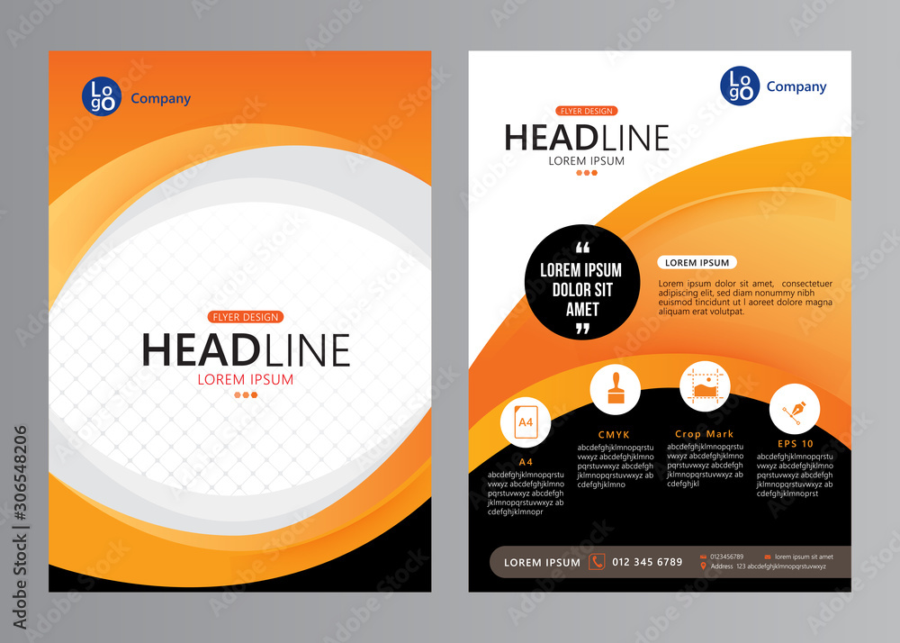Fototapeta Vector business brochure design template. Corporate annual report. Flyer layout