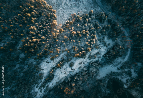 Aerial View of Boreal Forest Nature in Winter Season, Helsinki, Finland Fototapeta