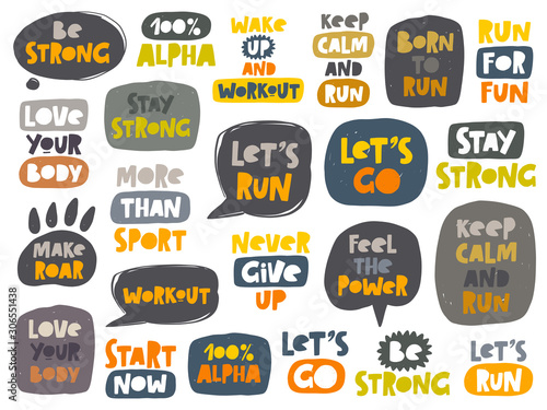 Sport colored hand drawn lettering set Canvas Print