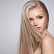 Leinwandbild Motiv Pretty face of young woman with long white hair