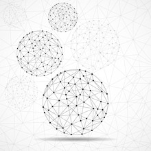 Abstract Wireframe Globes, Net...