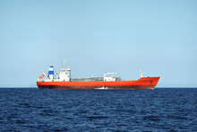 View Of A Red Lpg Tanker Saili...