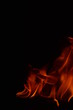 canvas print picture - Beautiful fire flames on a black background.