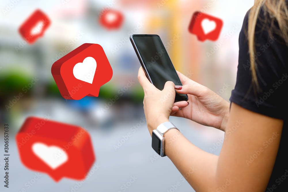 Fototapeta Social media,social network concept with smart phone , 3d illustration