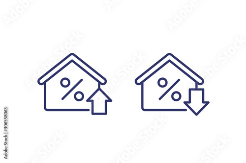 mortgage rate growing and reducing icons, line vector