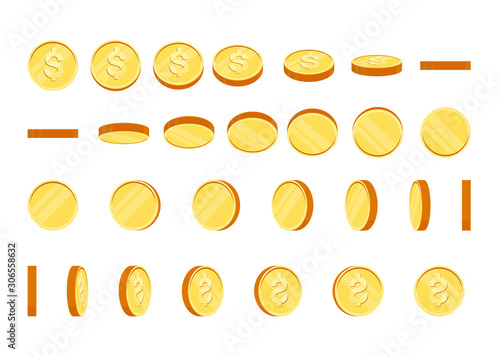 Photo Coins set of vector sprites for rotation in different projections