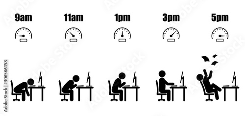 Fotografía  Working hours life cycle from nine am to five pm concept in black stick figure s