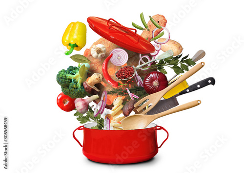 Poster de jardin Individuel Big red pot for soup with vegetables