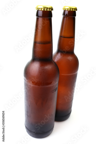 Beer bottle on a white background Wallpaper Mural