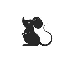 Cartoon Black Rat Or Mouse Silhouette Isolated On White Background