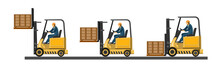 Forklift. Vector. Loading Boxe...