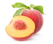 Isolated Peach Fruits. One Who...