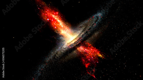 Fototapeta Artist's impression of stars born in winds from supermassive b