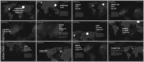 Szablony prezentacji projektu wektor, uniwersalny szablon prezentacji slajdów, ulotka, projekt okładki broszury, prezentacja raportu. Tła mapy świata z elementami plansza mapa świata