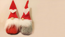 Toy Gnomes. Christmas Background. New Year