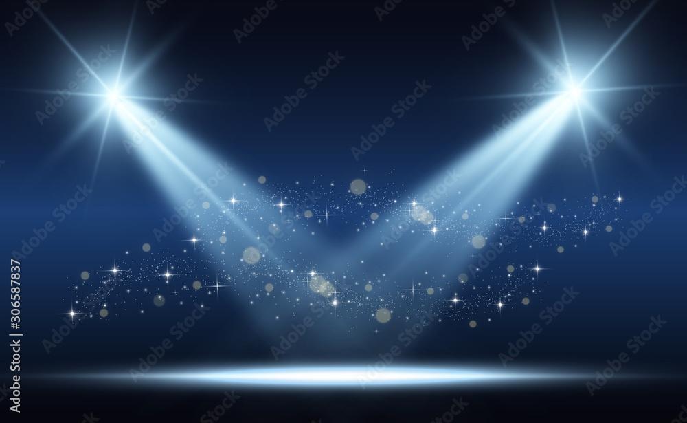 Fototapeta White stage with spotlights. Vector illustration with beautiful light and sparkles - obraz na płótnie