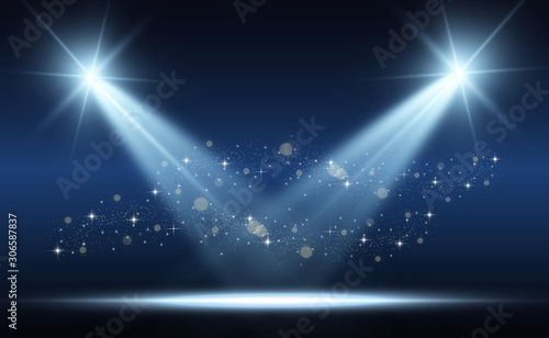 White stage with spotlights Canvas Print