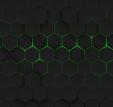Abstract Green Hexagonal Backg...