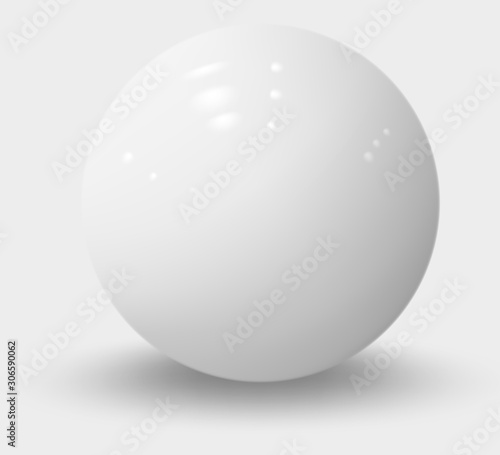 Cuadros en Lienzo White realistic sphere isolated on white. White realistic ball