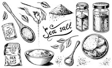 Sea Salt Set. Glass Bottles, P...