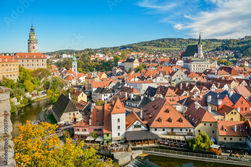Fototapety, obrazy: Panorama of Cesky Krumlov is town in South Bohemian Region of Czech Republic. Its historic centre, centred around Cesky Krumlov Castle. Embankment of Vltava River in Cesky Krumlov. Krumlov is town