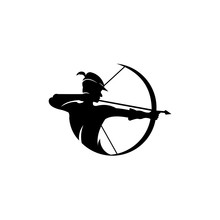 Archery Logo, Vector Badge Concept, Archer With Sport Bow And Target With Arrow, Archery Competition