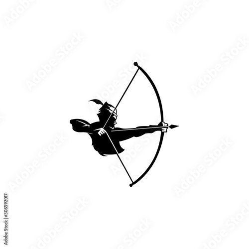 archery logo, Vector badge concept, Archer with sport bow and target with arrow, Fototapeta