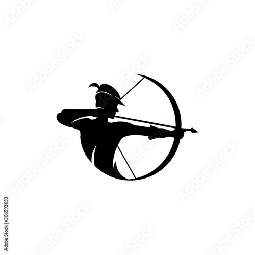 archery logo, Vector badge concept, Archer with sport bow and target with arrow, Canvas Print